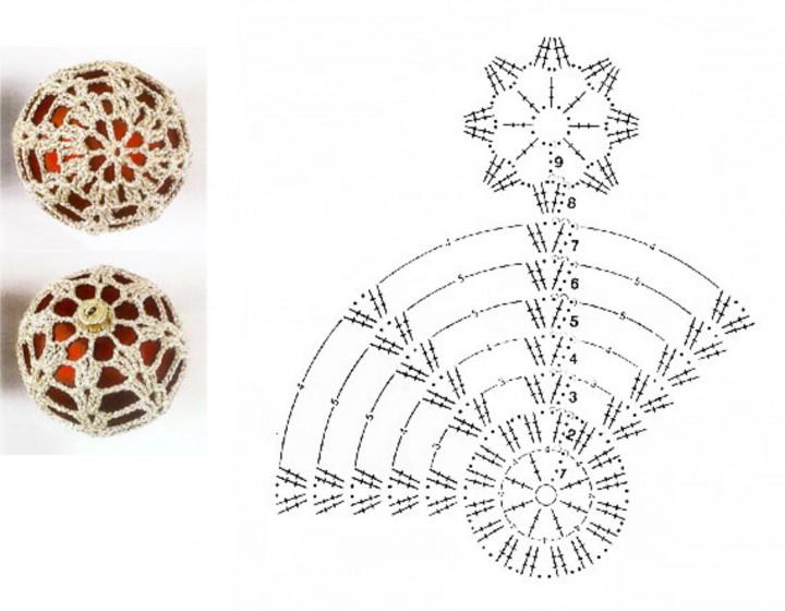 Схема вязания крючком новогодних шаров 67